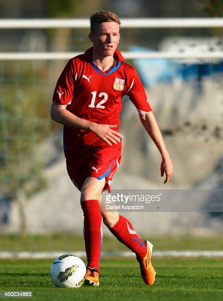 Petr Kodes of Czech Republic controls the ball during the U18 international friendly match between Czech Republic and Germany on November 16 2013 in...