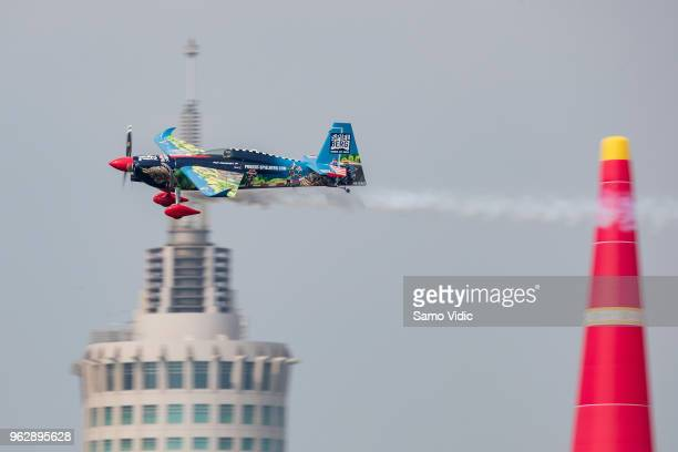 Petr Kopfstein of Czech Republic competes during the finals at the third round of the Red Bull Air Race World Championship on May 27, 2018 in Chiba,...