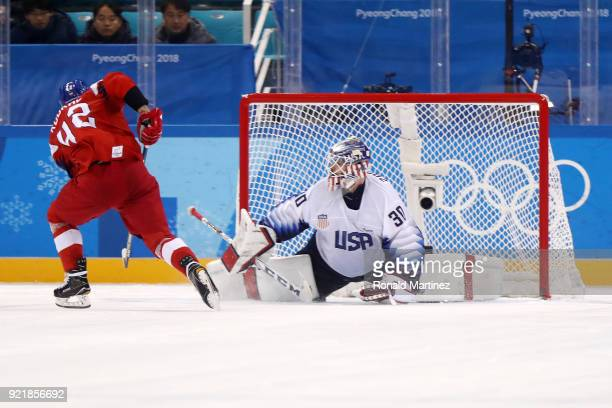 Petr Koukal of the Czech Republic scores a goal on Ryan Zapolski of the United States in an overime shootout to defeat the United States 32 during...
