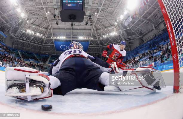 Petr Koukal of the Czech Republic scores the gamewinning goal against Ryan Zapolski of the United States in the overtime penaltyshot shootout to win...