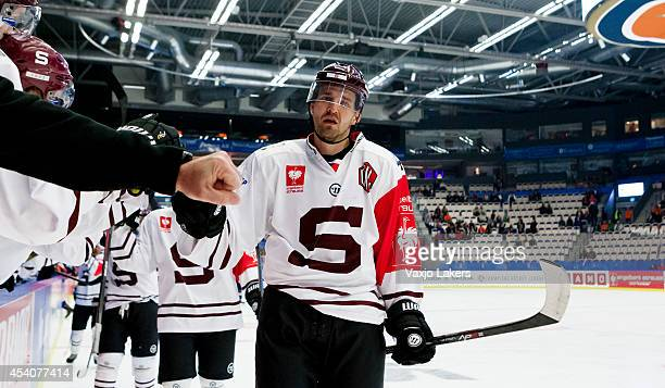 Petr Kumstat of Sparta Prague is celebrating the 0-1 goal during the Champions Hockey League group stage game between Vaxjo Lakers and Sparta Prague...