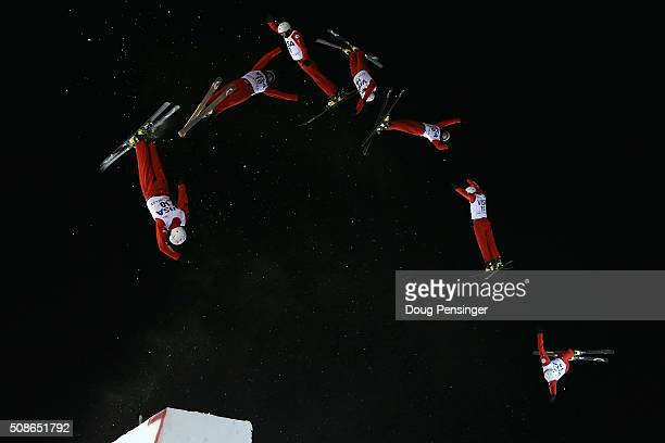 Petr Medulich of Russia jumps to first place in the men's FIS Freestyle Skiing Aerials World Cup at Deer Valley on February 5 2016 in Park City Utah