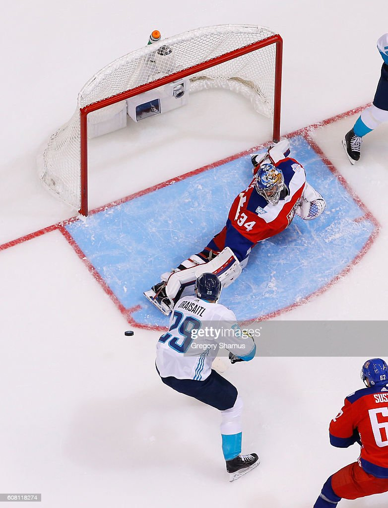 Petr Mrazek #34 of Team Czech Republic makes a third period save on a shot by Thomas Vanek #26 of Team Europe during the World Cup of Hockey at the Air Canada Center on September 19, 2016 in Toronto, Canada.