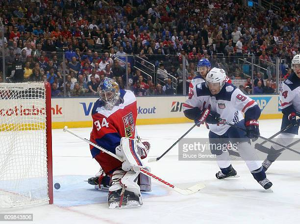 Petr Mrazek of Team Czech Republic makes the save on Zach Parise of Team USA during the second period at the World Cup of Hockey tournament at the...