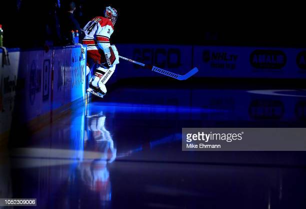 Petr Mrazek of the Carolina Hurricanes takes the ice during a game against the Tampa Bay Lightning at Amalie Arena on October 16 2018 in Tampa Florida