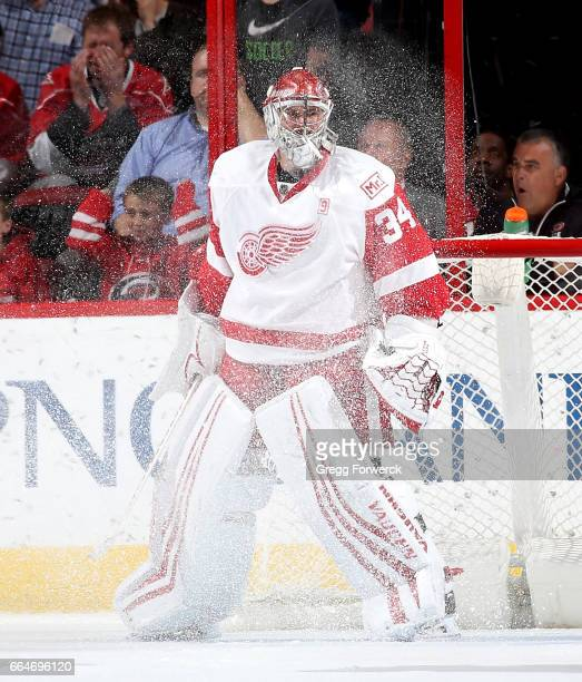 Petr Mrazek of the Detroit Red Wings gets snowed during an NHL game against theh Carolina Hurricanes on March 27 2017 at PNC Arena in Raleigh North...