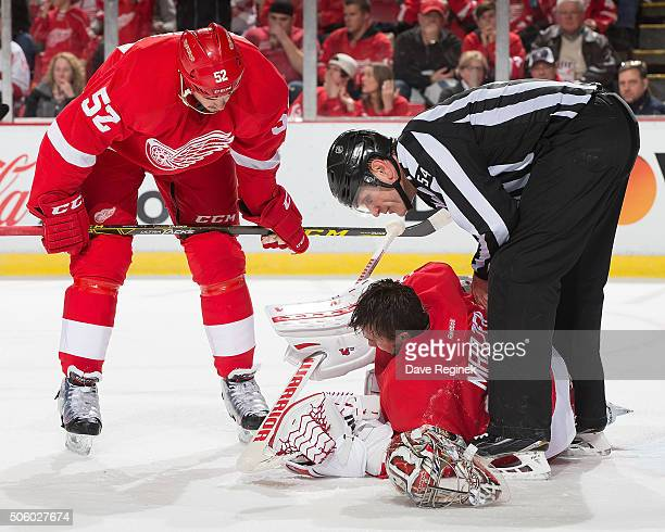 Petr Mrazek of the Detroit Red Wings is dazed after a play as teammate Jonathan Ericsson and linesman Greg Devorski check on him during an NHL game...