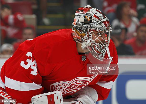 Petr Mrazek of the Detroit Red Wings looks on during a faceoff in the first period of Game Three of the Eastern Conference Quarterfinals during the...