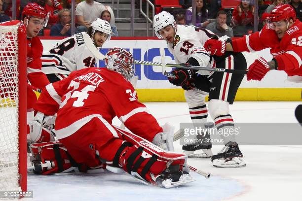 Petr Mrazek of the Detroit Red Wings makes a first period save on Tomas Jurco of the Chicago Blackhawks at Little Caesars Arena on January 25 2018 in...