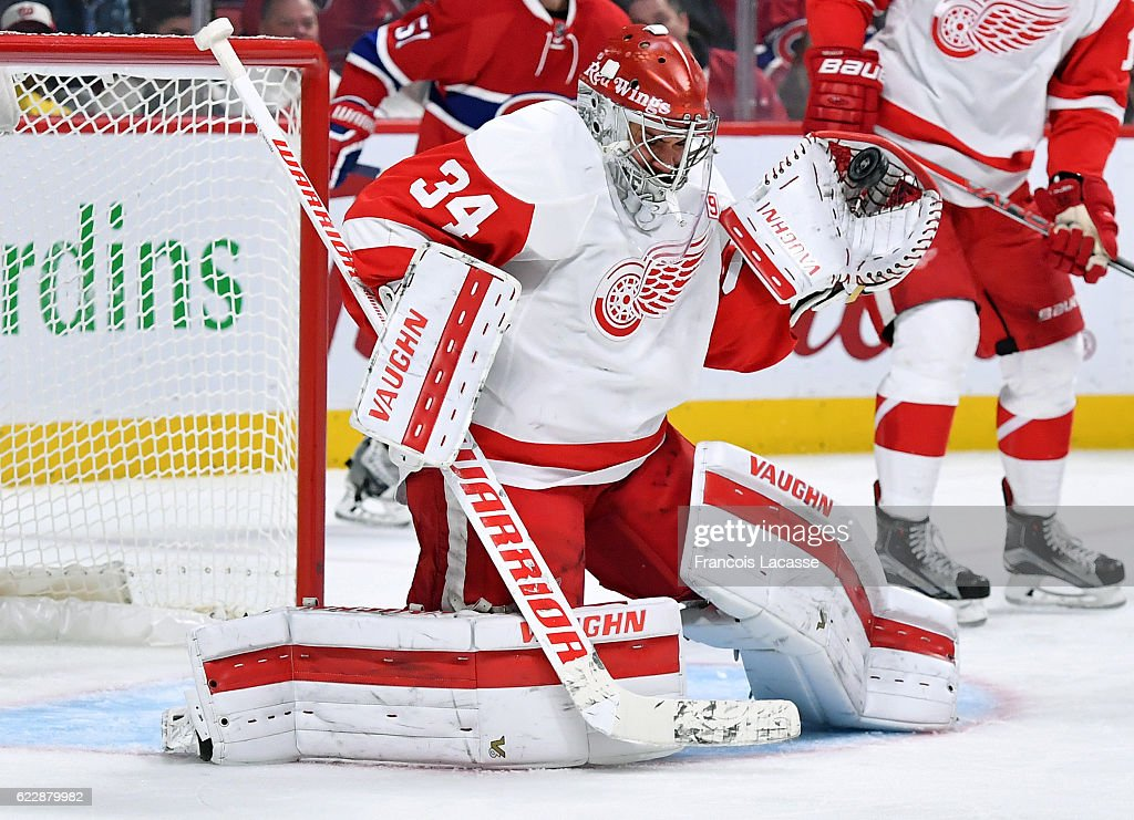 Petr Mrazek #34 of the Detroit Red Wings makes a glove save against the Montreal Canadiens in the NHL game at the Bell Centre on November 10, 2016 in Montreal, Quebec, Canada.