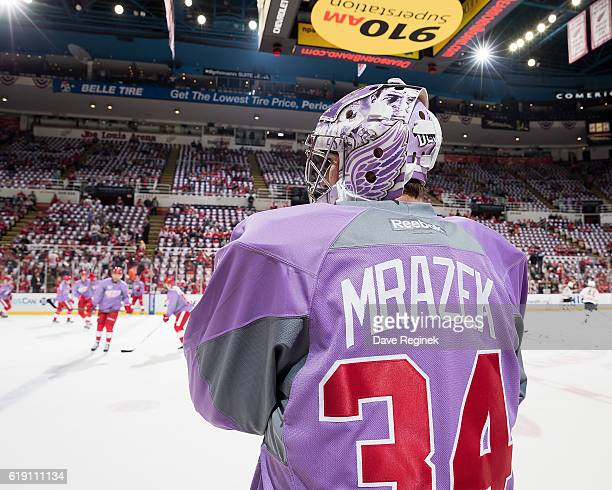 Petr Mrazek of the Detroit Red Wings wears a lavender jersey during warmups for the annual Hockey Fights Cancer Awareness Night prior to an NHL game...