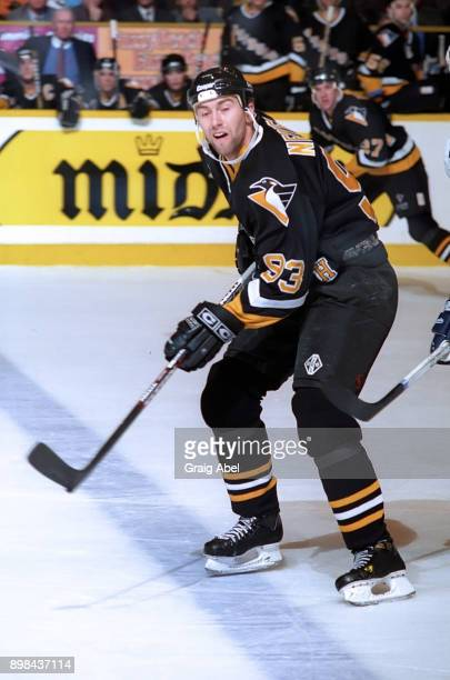 Petr Nedved of the Pittsburgh Penguins skates against the Toronto Maple Leafs during NHL game action on February 12 1996 at Maple Leaf Gardens in...