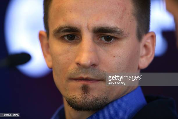 Petr Petrov faces the media ahead of his fight against Terry Flanagan during a boxing press conference at City Academy on February 15 2017 in...