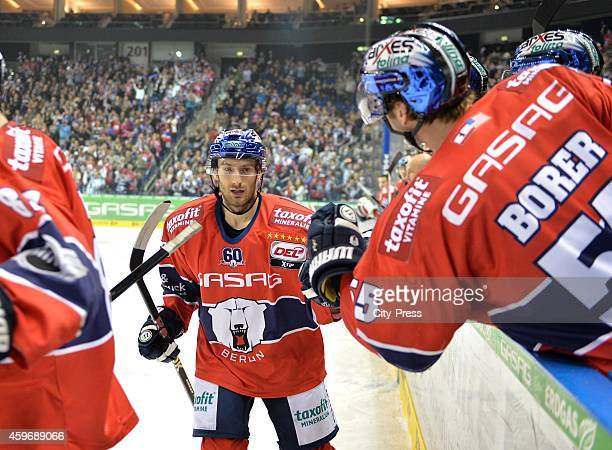 Petr Pohl and Casey Borer of the Eisbaeren Berlin celebrate after scoring the 2:1 during the game between Eisbaeren Berlin and Krefeld Pinguine on...