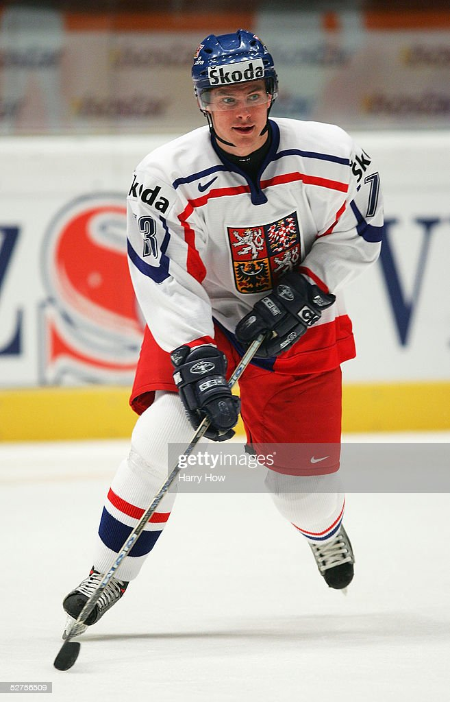 Petr Prucha #73 of the Czech Republic skates during warm-ups prior to taking on Germany in the IIHF World Men's Championships preliminary round group D game at Wiener Stadthalle on May 3, 2005 in Vienna, Austria. The Czech Republic defeated Germany 2-0.