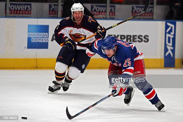 Petr Prucha of the New York Rangers chases down the loose puck against the Atlanta Thrashers during the second period of game four of the 2007...