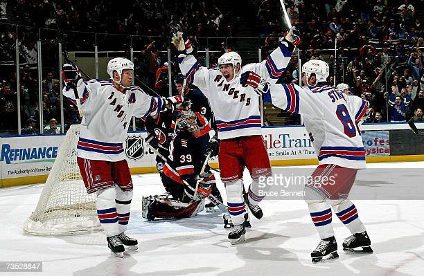 Petr Prucha of the New York Rangers scores the winning goal at 14:46 of the third period against the New York Islanders on March 8, 2007 at the...