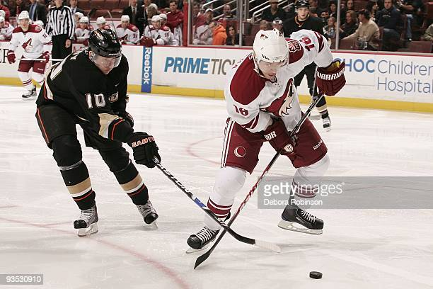 Petr Prucha of the Phoenix Coyotes battles for the puck against Corey Perry of the Anaheim Ducks during the game on November 29, 2009 at Honda Center...