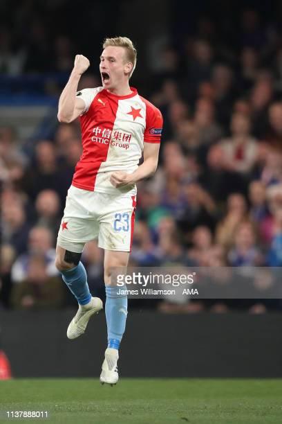 Petr Sevcik of Slavia Praha celebrates after scoring a goal to make it 34 during the UEFA Europa League Quarter Final Second Leg match between...