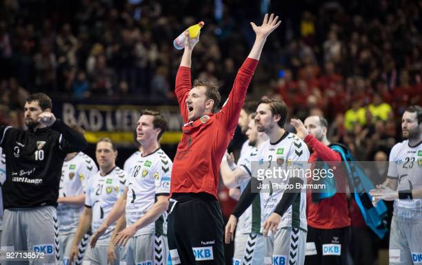 Petr Stochl of Fuechse Berlin celebrates after the EHF Cup game between Fuechse Berlin and Helvetia Anaitasuna at the Max Schmeling Halle on march 4...