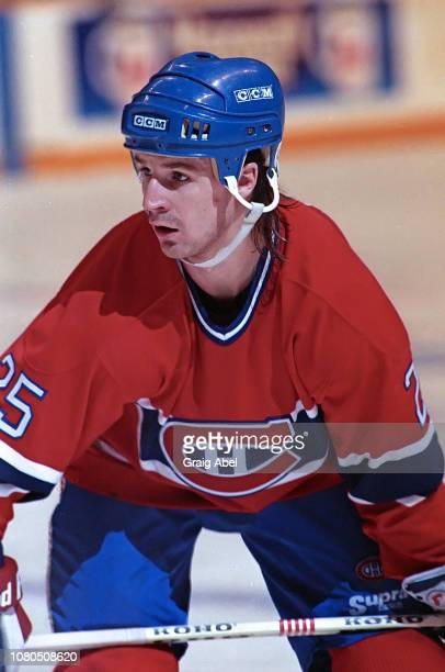 Petr Svoboda of the Montreal Canadiens skates against the Toronto Maple Leafs during NHL game action on January 27 1990 at Maple Leaf Gardens in...