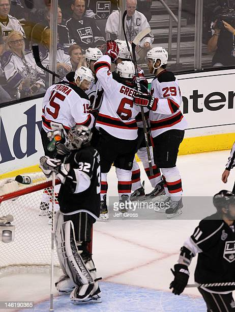 Petr Sykora Adam Henrique Andy Greene Alexei Ponikarovsky and Mark Fayne of the New Jersey Devils celebrate Henrique's goal in the second period of...