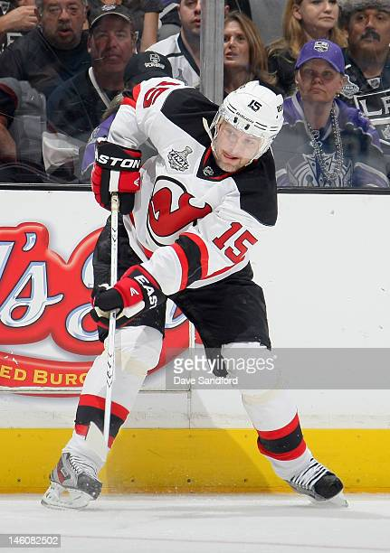 Petr Sykora of the New Jersey Devils plays against the Los Angeles Kings in Game Four of the 2012 Stanley Cup Final at the Staples Center on June 6...
