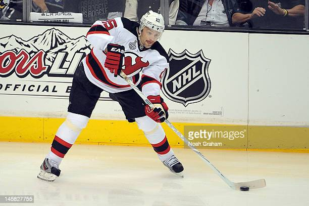 Petr Sykora of the New Jersey Devils skates with the puck against the Los Angeles Kings in Game Four of the 2012 Stanley Cup Final at Staples Center...