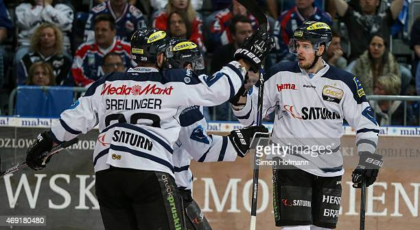 Petr Taticek of Ingolstadt celebrates his team's first goal during the DEL Playoffs Final Game 1 between Adler Mannheim and ERC Ingolstadt at SAP...