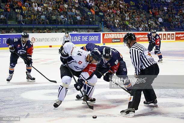 Petr Vampola of Bili Tigry Liberec and Tomas Hrnka of HC Kosice during the  Champions Hockey d1e999b9d58