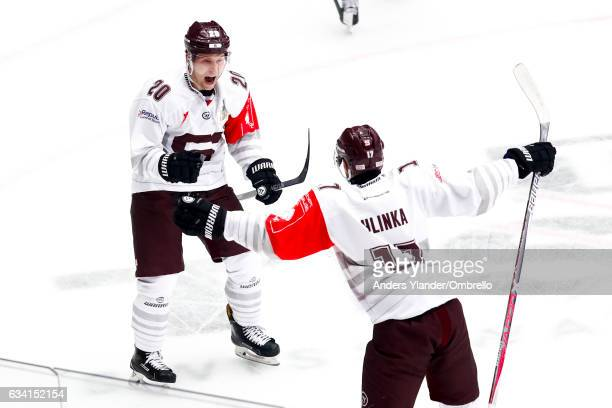Petr Vrana celebrates after scoring 1-2 during the Champions Hockey League Final between Frolunda Gothenburg and Sparta Prague at Frolundaborgs...