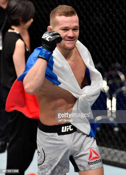 Petr Yan of Russia celebrates after his knockout victory over Teruto Ishihara of Japan in their bantamweight bout during the UFC Fight Night event at...