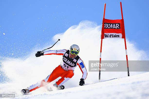 Petr Zahrobsky of Czech Republic in action during the Men's Giant Slalom at the FIS Skiing World Cup on December 13 2008 in Val d'Isere France