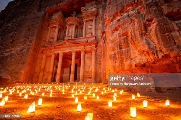 petra by night at the treasury in the ancient city of petra, jordan - treasury stock pictures, royalty-free photos & images