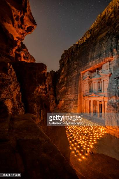 petra by night ,night view of treasury in petra - jordan. - jordan stock pictures, royalty-free photos & images