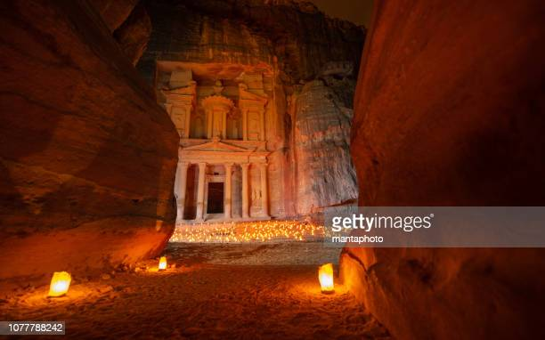 petra by night - the treasury - jordan stock pictures, royalty-free photos & images