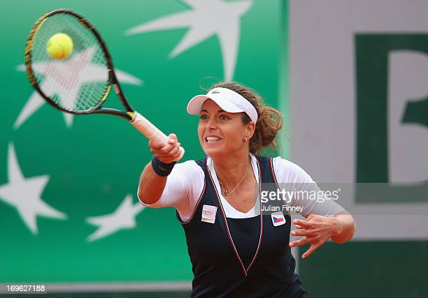Petra Cetkovska of Czech Republic plays a forehand in her Women's Singles match against Anastasia Pavlyuchenkova of Russiaduring day four of the...