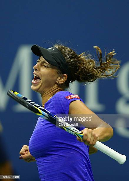 Petra Cetkovska of the Czech Republic celebrates match point against Caroline Wozniacki of Denmark in their second round match on Day Four of the...