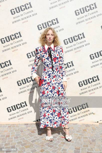 Petra Collins arrives at the Gucci show during Milan Fashion Week Spring/Summer 2018 on September 20 2017 in Milan Italy