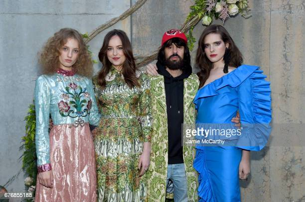 Petra Collins, Dakota Johnson, Alessandro Michele and Hari Nef attend the Gucci Bloom, Fragrance Launch Event at MoMA PS.1 on May 2, 2017 in New York...