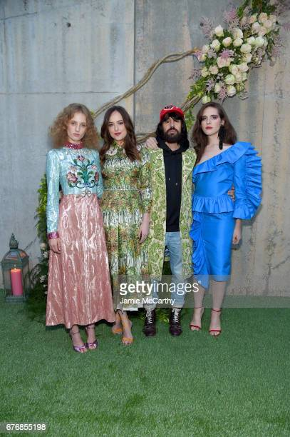 Petra Collins Dakota Johnson Alessandro Michele and Hari Nef attend the Gucci Bloom Fragrance Launch Event at MoMA PS1 on May 2 2017 in New York City