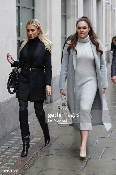 Petra Ecclestone and Tamara Ecclestone arrive at the Central Family Court for another day of divorce hearings on January 24 2018 in London England