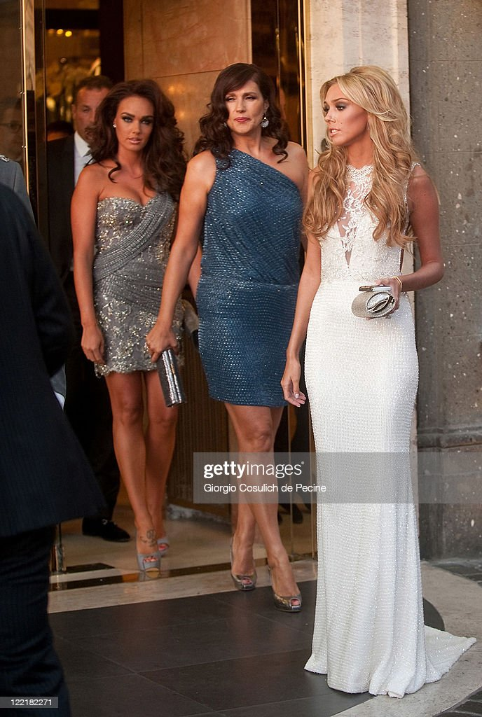 Petra Ecclestone (R) and Tamara Ecclestone (3rd R) sighted leaving the Hassler Hotel ahead of the wedding of Petra Ecclestone and James Stunt on August 26, 2011 in Rome, Italy.