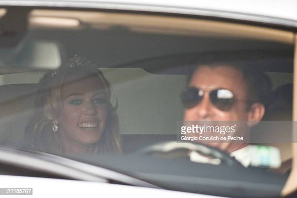 Petra Ecclestone sighted leaving the Hassler Hotel in a Rolls Royce driven by French racing driver Jean Alesi ahead of her wedding with James Stunt...
