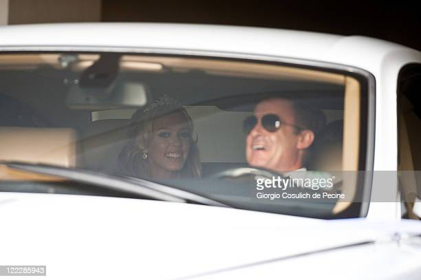 Petra Ecclestone sighted leaving the Hassler Hotel on board a Rolls Royce driven by French Jean Alesi ahead of her wedding with James Stunt on August...