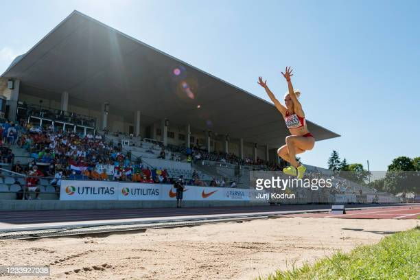 Petra Farkas of Hungary competes during Women's Long Jump Final on day four of the 2021 European Athletics U23 Championships at Kadriorg Stadium on...