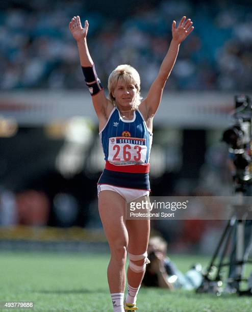 Petra Felke of East Germany after winning the women's javelin event during the Summer Olympic Games in Seoul South Korea circa 1988
