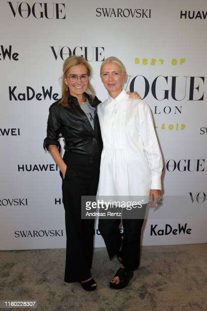 Petra Fladenhofer and EditorinChief Vogue Germany Christiane Arp attend the Celebrate 40 years – Best of Vogue Salon during the Berlin Fashion Week...