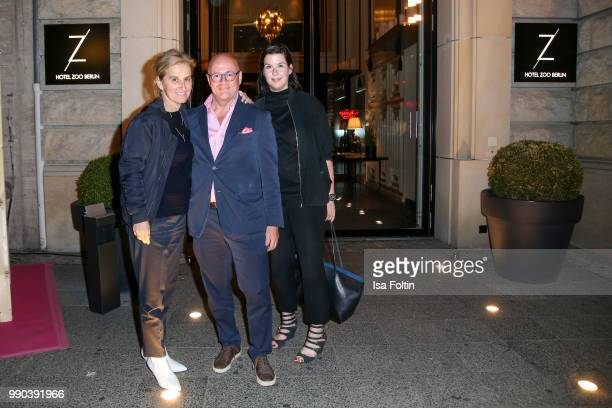 Petra Fladenhofer Andre Maeder and Simone Heift during the Bunte New Faces Night at Grace Hotel Zoo on July 2 2018 in Berlin Germany