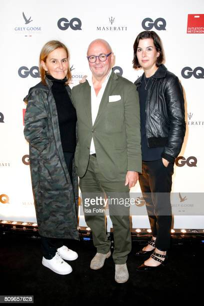 Petra Fladenhofer Andre Maeder and Simone Heift of KaDeWe Group attend the GQ Mension Style Party 2017 at Austernbank on July 5 2017 in Berlin Germany